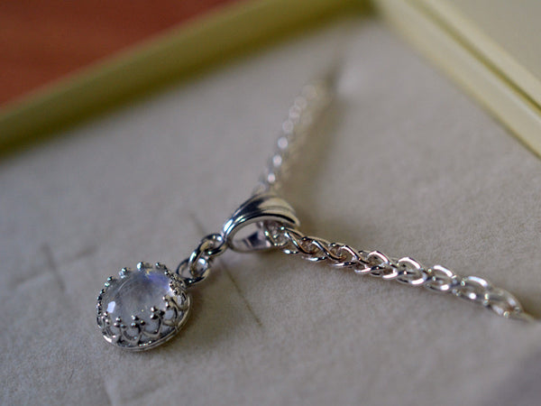 Simple 8mm Rainbow Moonstone Pendant with Silver Chain