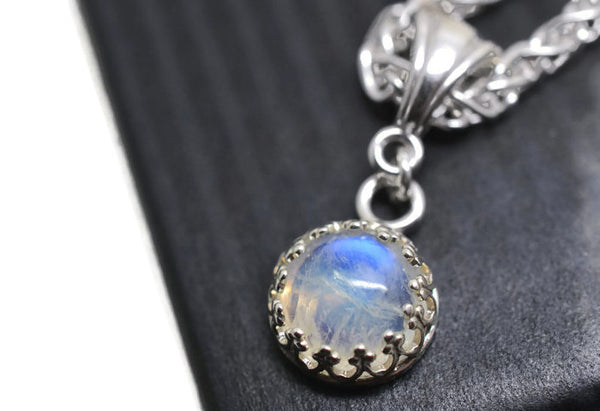 8mm Rainbow Moonstone Bridesmaid Necklace With Silver Chain
