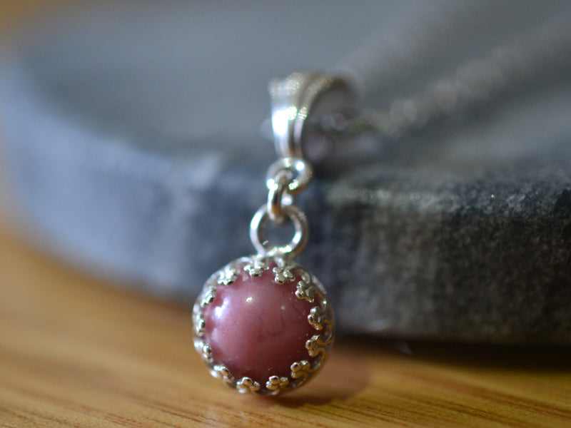 Simple Little Round Pink Crystal Necklace in Sterling Silver
