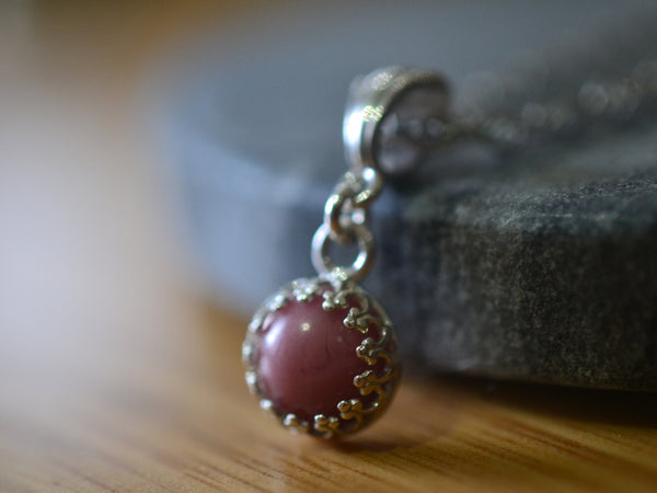 Dainty Little Pink Rhodonite Crystal Pendant With Sterling Chain