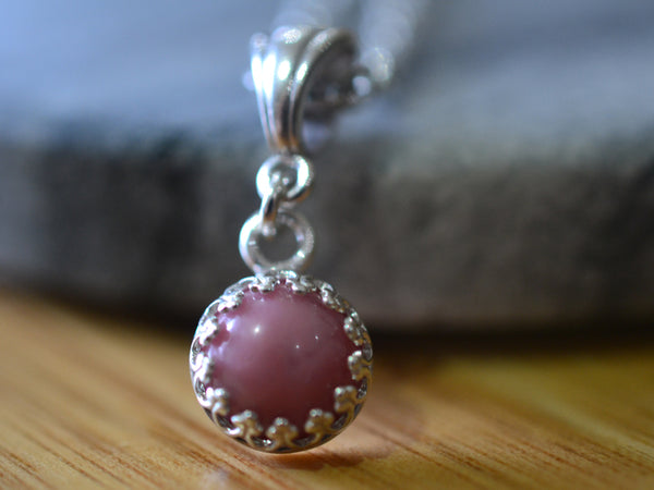 Dainty Bezel Set 8mm Round Pink Rhodonite Cabochon Necklace
