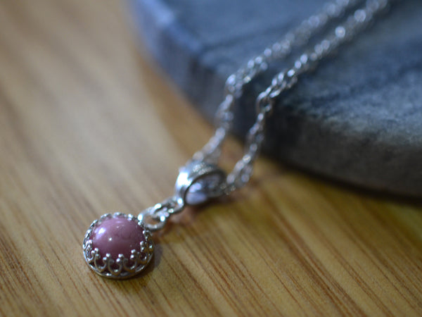 Sterling Silver Bezel Set Little Rhodonite Gemstone Pendant
