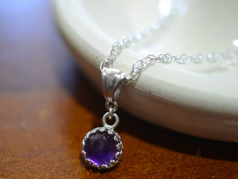 Dainty Amethyst Gemstone Necklace with Silver Rope Chain