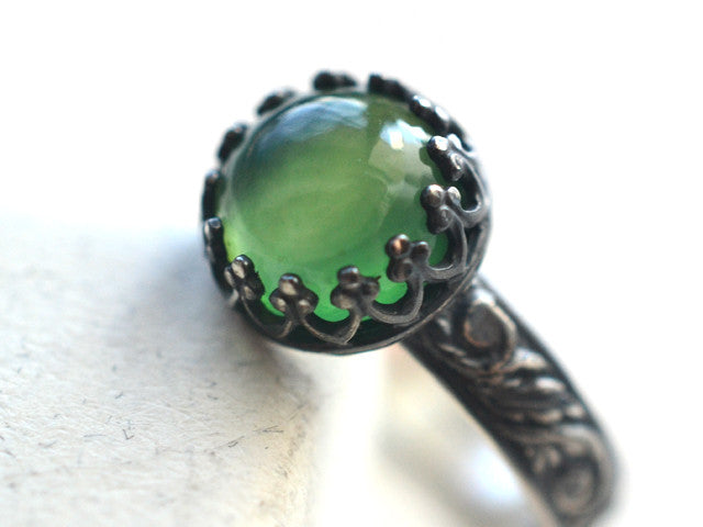 Handforged Oxidized Sterling Silver & 8mm Serpentine Ring