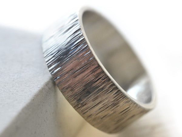 8mm Wide Shiny Silver Tree Bark Wedding Band for Men