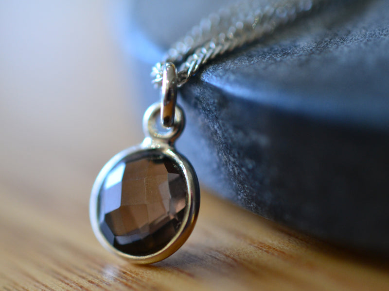 Natural Round 8mm Smoky Quartz Necklace in Sterling Silver