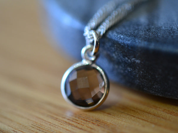 Simple 8mm Round Smoky Quartz Pendant with Sterling Chain