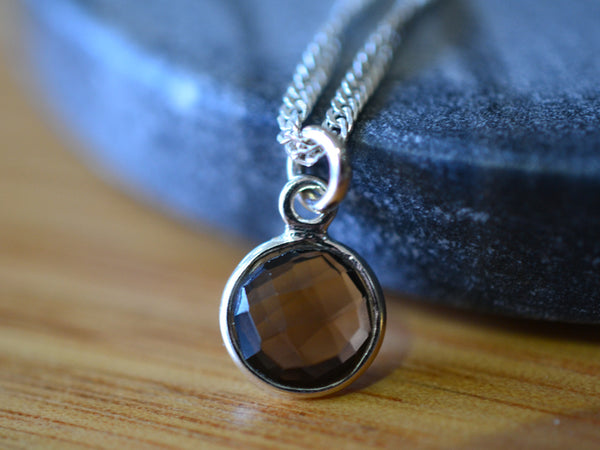 Minimalist Sterling Silver & 8mm Smoky Quartz Necklace