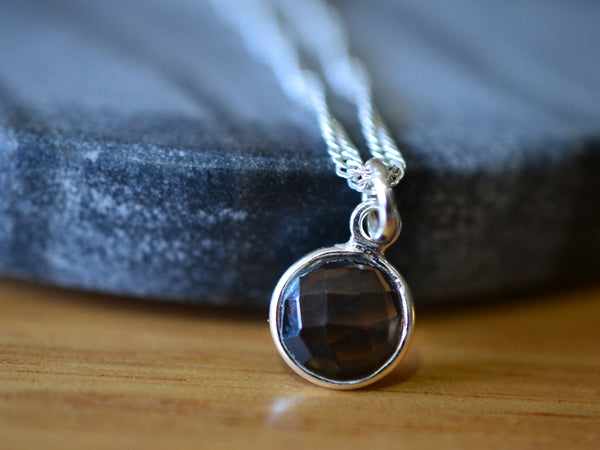 Checkerboard Cut Smoky Quartz Necklace in Sterling Silver