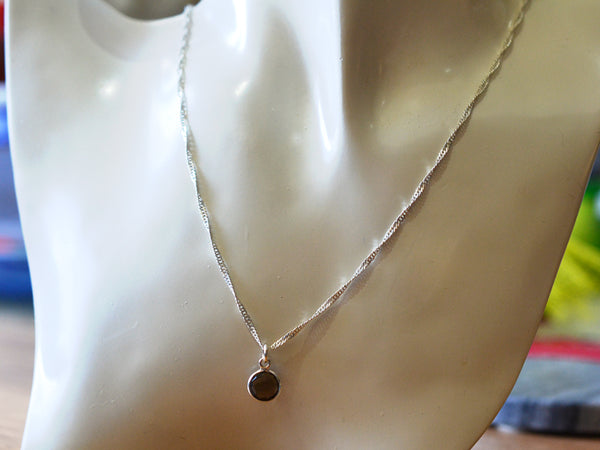 Faceted Smoky Quartz Necklace with Silver Singapore Chain