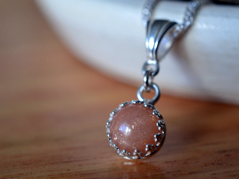 Handmade Sterling Silver & 8mm Sunstone Necklace