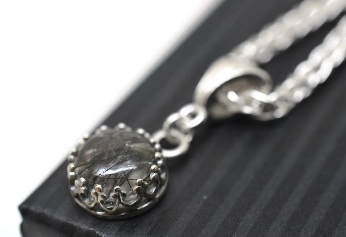 8mm Black Rutile Quartz Wedding Necklace with Silver Chain