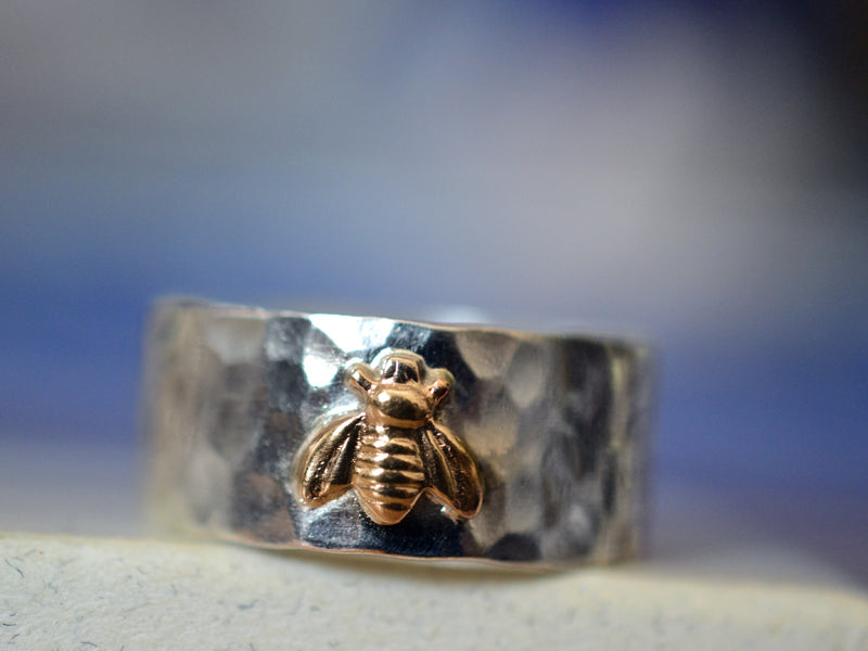 Handmade Sterling Silver & 14K Gold Bee Wedding Band