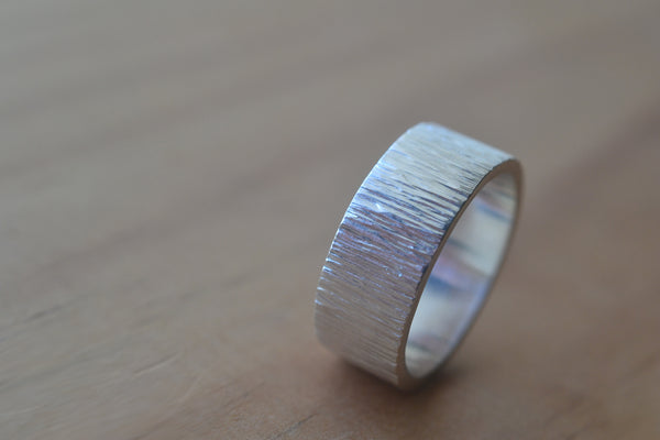 Simple Sterling Silver Tree Bark Ring for Men