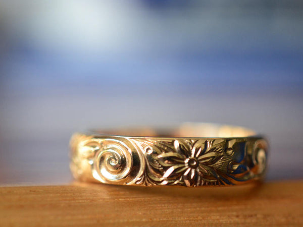 Handmade 14K Yellow Gold Floral Wedding Band
