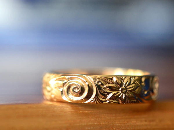 Customised 14ct Yellow Gold Floral Wedding Ring