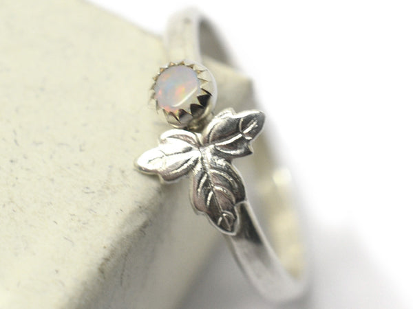 Natural 3mm White Opal & Silver Leaf Ring