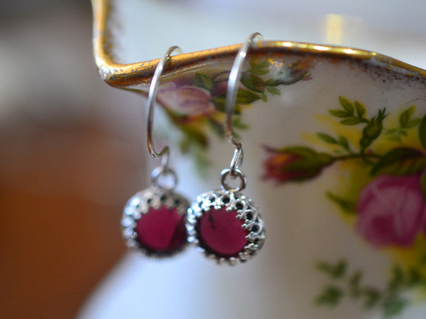 Handmade Almandine Garnet Earrings in Sterling Silver