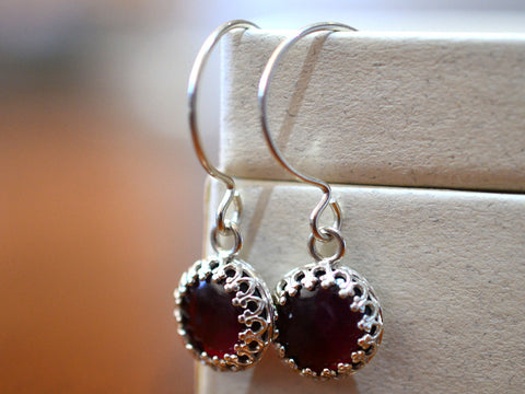 Handmade 10mm Almandine Garnet Drop Earrings