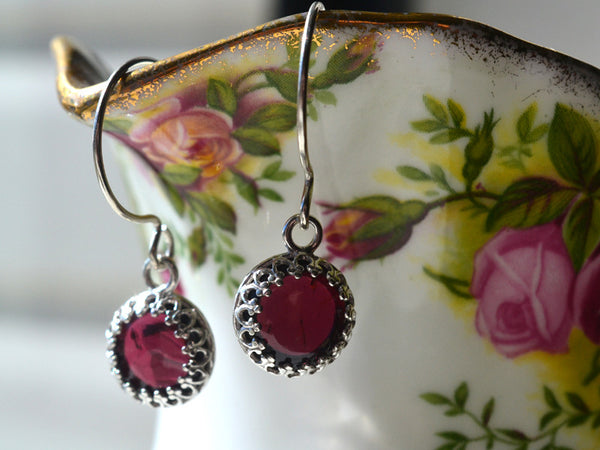Handmade Sterling Silver & Almandine Garnet Earrings