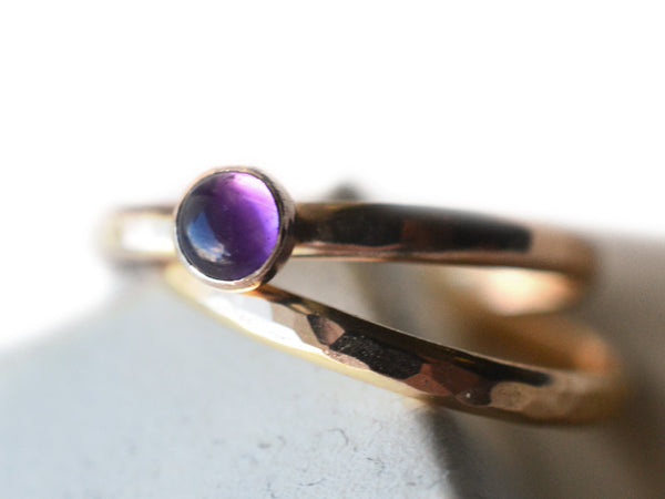 Amethyst Wedding Ring Set in 14K Yellow Gold