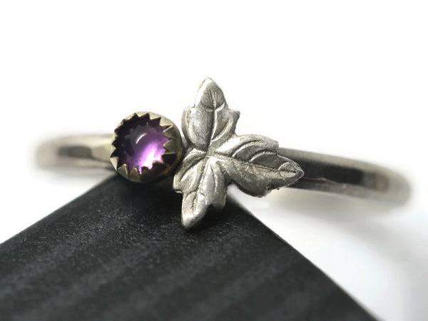 Tiny Amethyst Berry & Leaf Ring
