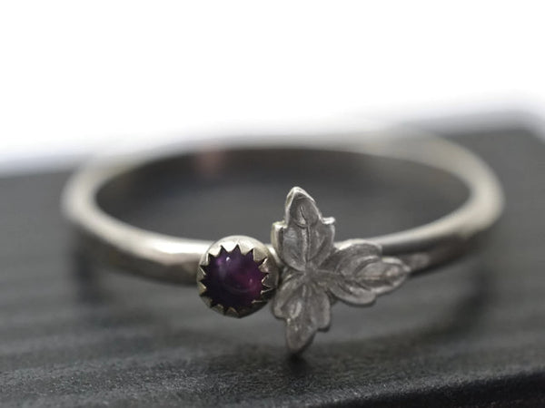 3mm Purple Amethyst & Silver Leaf Ring