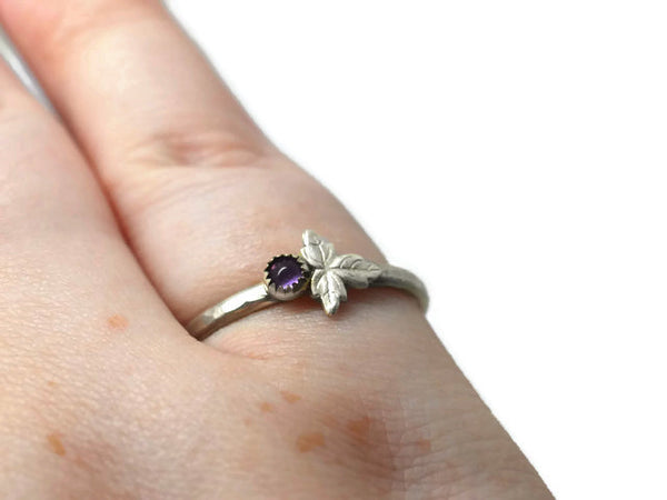 Handmade Amethyst Berry & Leaf Ring
