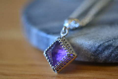 Natural Amethyst Crystal Point Necklace in Sterling Silver