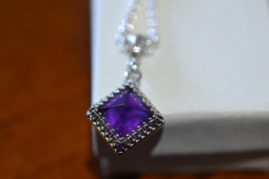 Purple Amethyst Pyramid Pendant in Sterling Silver