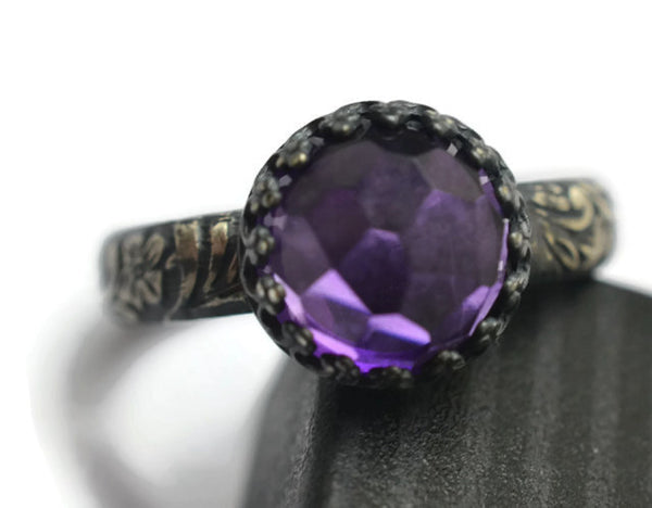 Handmade Gothic Floral Silver & 10mm Amethyst Ring