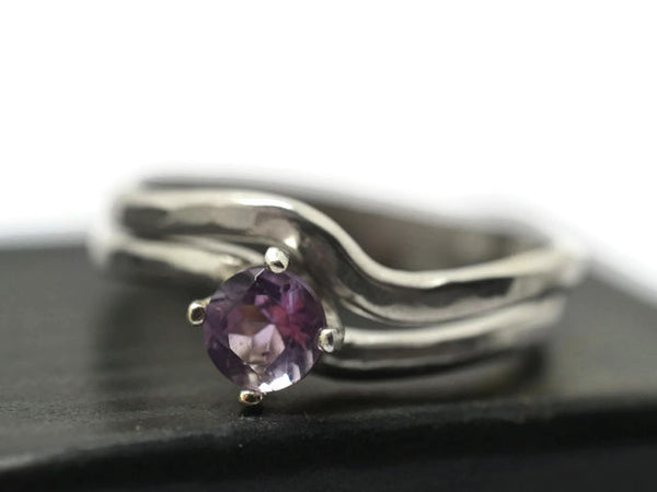 Curved Silver Brazilian Amethyst Bridal Set