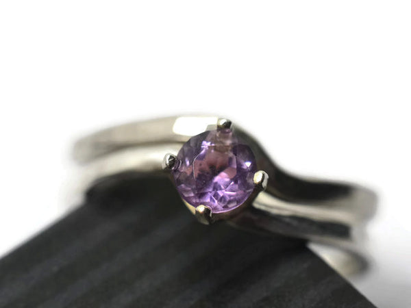 Wavy Silver 5mm Brazilian Amethyst Wedding Set