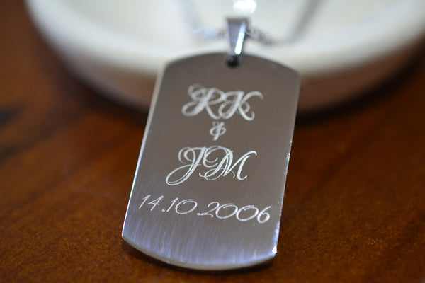 Custom Anniversary Dog Tag Necklace in Stainless Steel