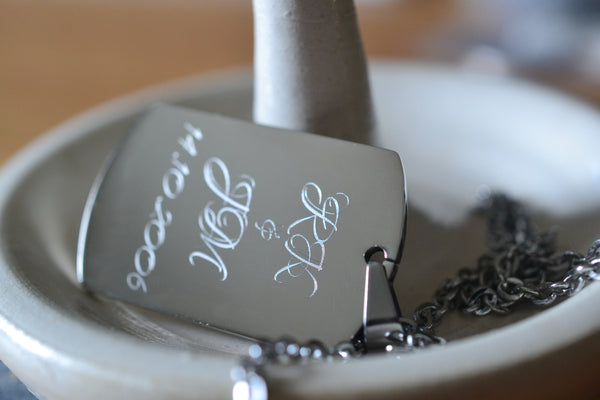 Custom Engraved Stainless Steel Dog Tag Necklace With Chain