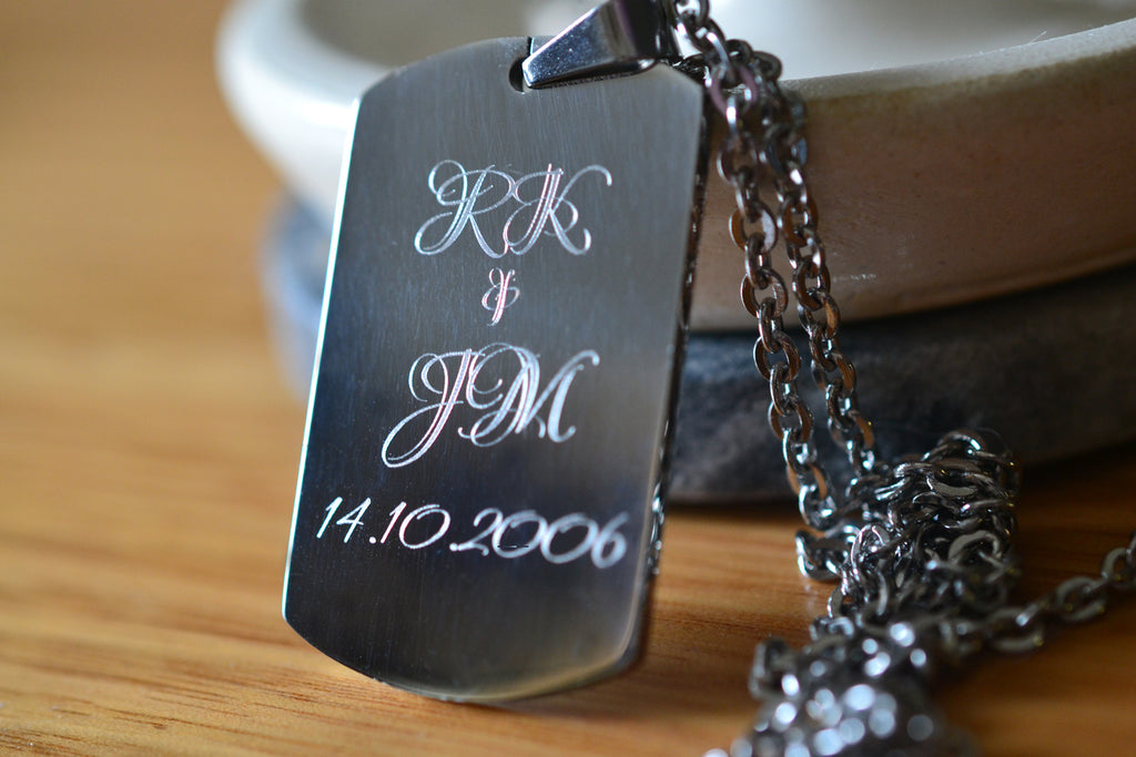 Custom Anniversary Boyfriend Gift Dog Tag Necklace