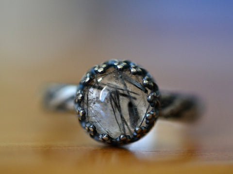 Handmade Oxidised Silver Tourmalinated Quartz Ring