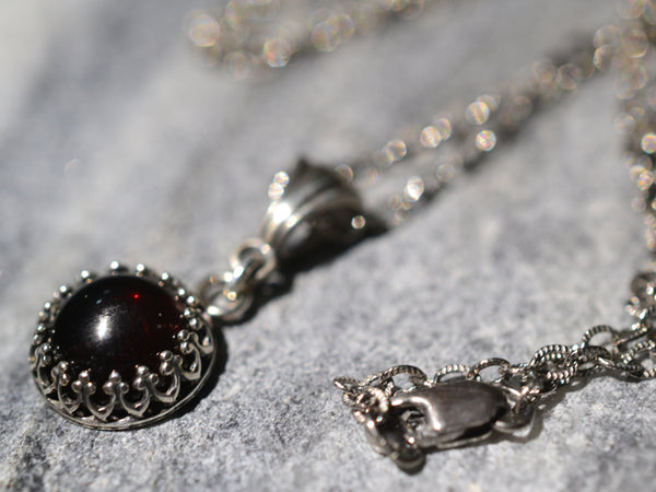 Natural Red Garnet Gemstone Pendant in Antiqued Silver