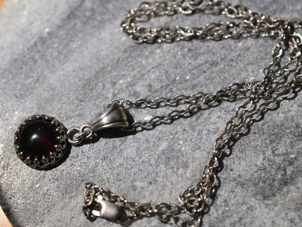 Natural 10mm Red Crystal Bezel Necklace in Oxidised Sterling