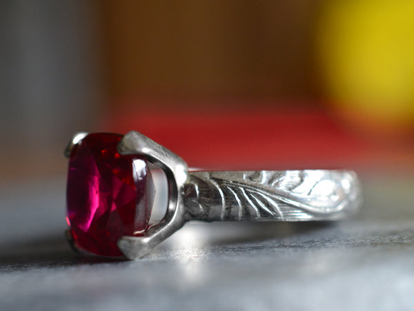 Vintage Inspired Engravable Women's Ruby Engagement Ring