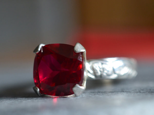 Vintage Style Ruby Engagement Ring in Sterling Silver