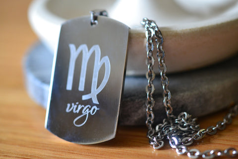 Astrology Zodiac Sign Dog Tag Necklace in Stainless Steel