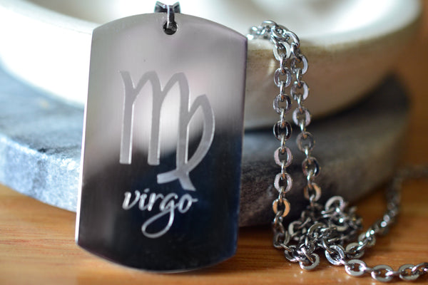 Engraved Star Sign Zodiac Dog Tag Necklace in Stainless Steel