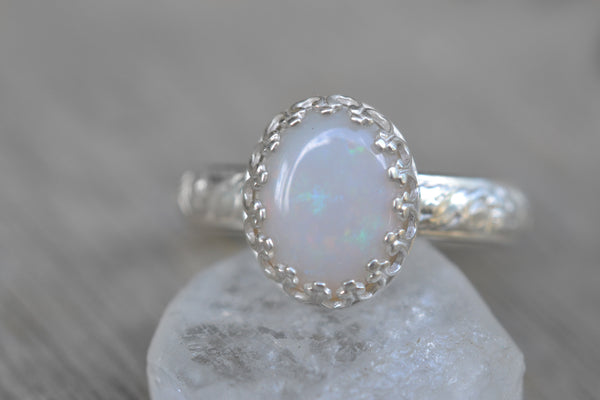 Natural White Opal Cocktail Ring in Silver