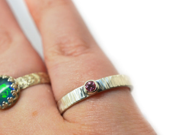 Simple Tree Bark Style 3mm Pink Topaz Promise Ring