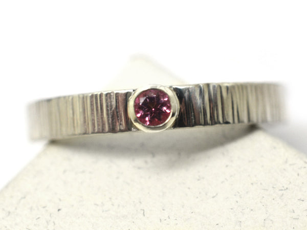 Women's Tiny Pink Topaz & Silver Birch Bark Promise Ring