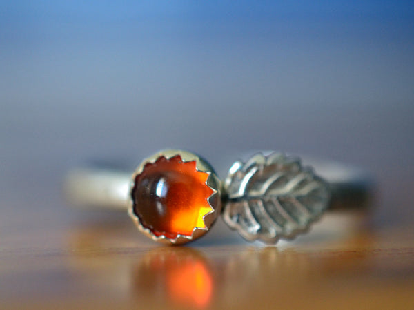 Handmade 5mm Baltic Amber & Silver Leaf Ring