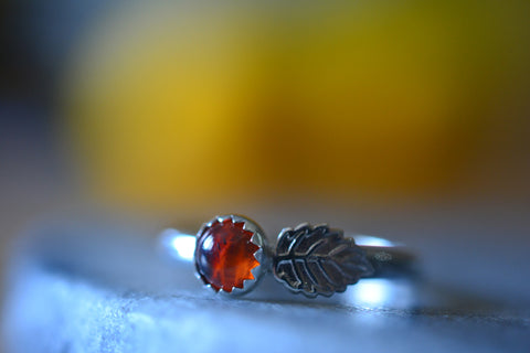 Sterling Silver Leaf Ring With 5mm Round Baltic Amber Gemstone