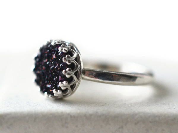 8mm Black Druzy Statement Ring in Sterling Silver