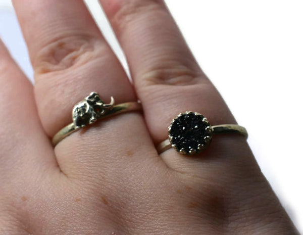 Handmade Black Druzy Ring